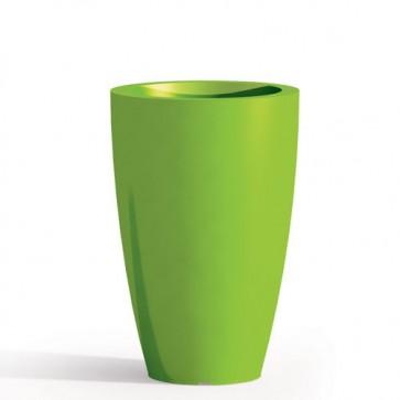 Vaso da giardino in resina verde per esterno. Vasi da interno design in polietilene, ideale per le piante e fiori del terrazzo. Dimensioni 50hx33 cm.