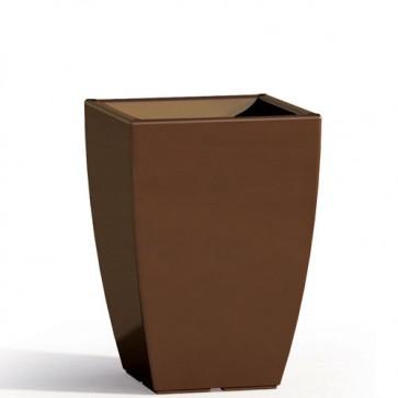 Vaso da giardino in resina marrone per esterno. Vasi da interno design in polietilene, ideale per le piante e fiori del terrazzo. Dimensioni 50hx33x33 cm.