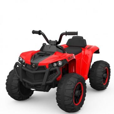 Quad elettrico rosso per bambino con batteria 12 volt e retromarcia, moto elettrica ricaricabile per bambini con luci, suoni e lettore MP3.