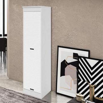 Armadio scarpiera a serrandina alta 175 cm. Scarpiere armadietto in legno con serranda, colore bianco frassinato.