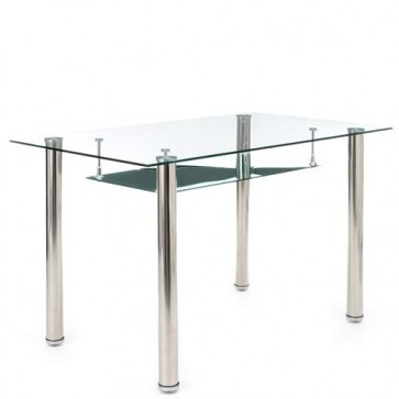 Scrivania ufficio Tense 1670 Tomasucci, tavolo con piano in vetro temperato e gambe in metallo cromato dimensioni 75x70x120 cm.