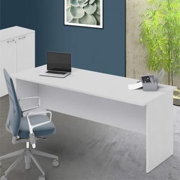 Scrivania ufficio bianco frassinato larga 200 cm. Scrivanie in legno porta pc per arredamento camerette, dimensioni  74x200x80 cm.
