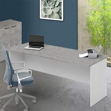 Scrivania ufficio con ripiano bicolore cemento larga 200 cm. Scrivanie in legno porta pc per arredamento camerette