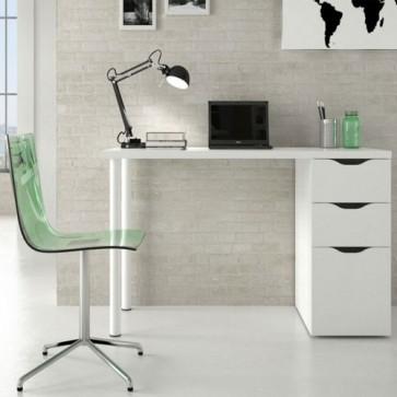 Scrivania ufficio bianca con due cassetti e un'anta. Scrivanie porta pc per ragazzi complete di cassettiera in legno, ideale per arredare camerette e studio.