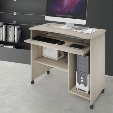 Scrivania ufficio porta computer con ruote e ripiano estraibile. Scrivanie pc in legno olmo per ragazzi, ideale per arredare camerette e studio.