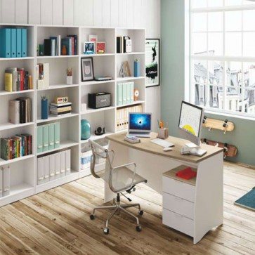 Scrivania ufficio bianca con tre cassetti. Scrivanie porta pc per ragazzi complete di cassettiera in legno rovere, ideale per arredare camerette e studio