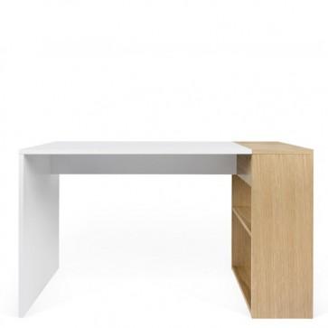 Scrivania design bianca per Pc Temahome, scrivanie moderne in quercia con armadietto integrato.