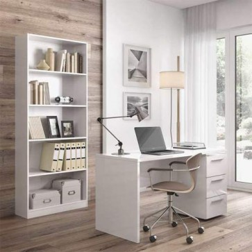 Scrivania ufficio bianca con tre cassetti. Scrivanie porta pc per ragazzi in legno complete di cassettiera