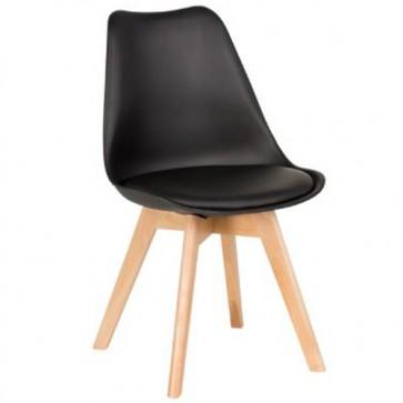Sedia cucina in polipropilene e gambe in legno. Sedie ufficio design nera da scrivania, poltroncina con cuscino ideale anche in soggiorno.
