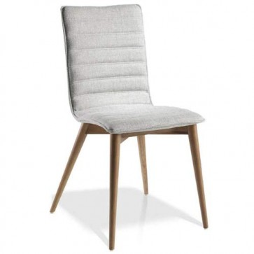 Sedia imbottita in tessuto con gambe in legno, sedie design noce Angel Cerdà i
