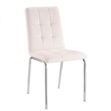 Sedia cucina moderna in pelle sintetica bianca, sedie design con gambe in metallo per soggiorno.