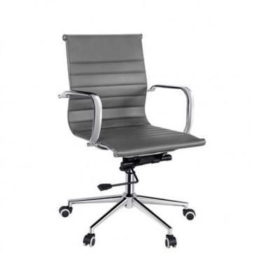 Poltrona direzionale ufficio grigia, rivestita in PU. Sedie girevoli in metallo con ruote e braccioli.