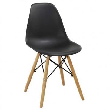 Sedia cucina in polipropilene e gambe in legno. Sedie ufficio design nera da scrivania, poltroncina ideale anche in soggiorno.