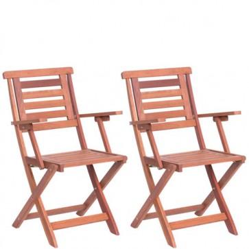 Sedia in legno pieghevole da giardino, set due sedie richiudibili pieghevoli con braccioli da esterno per terrazzo.