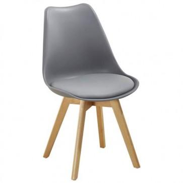 Sedia cucina in polipropilene e gambe in legno. Sedie ufficio design grigia da scrivania, poltroncina con cuscino