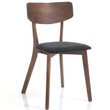 Sedia cucina in legno massello finitura noce scuro. Sedie imbottita soggiorno rivestita in tessuto grigio scuro, da abbinare a un tavolo della linea Tomasucci.