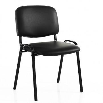 Sedia interlocutoria ufficio in pelle sintetica nera. Set 2 Sedie in acciaio verniciato nero per scrivania, sala riunioni o d'attesa.