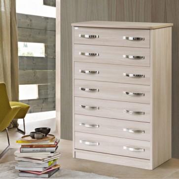 Cassettiera olmo con 7 cassetti in legno nobilitato. Mobile settimini ideale per camerette e camera da letto