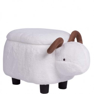Pouf contenitore animale montone in tessuto bianco. Sgabello poggiapiedi con vano contenitore