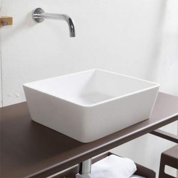 Lavabo bagno da appoggio in resina bianca, lavandino sospeso rettangolare colore bianco.