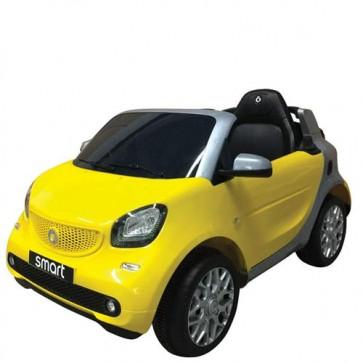 Auto elettriche smart 12 volt per bambini con radiocomando e fari. Macchina elettrica Mercedes gialla per bimbo con telecomando.