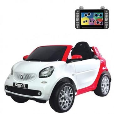 Auto elettriche per bambini Smart con batteria 12 volt, radiocomando e seduta in pelle. Macchina elettrica Mercedes bianca per bambino con schermo MP4