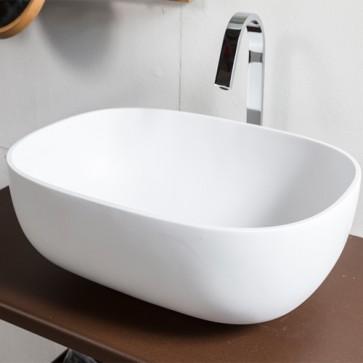 Lavabo bagno da appoggio moderno in resina, lavandino Cipì sospeso rettangolare colore bianco misure 55x40,5x16 cm.