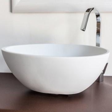 Lavabo bagno moderno da appoggio in resina, lavandino ovale design Cipì sospeso colore bianco misure 53x38x16 cm.