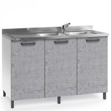 Sottolavello cucina componibile con ante 120 cm cemento, completo di lavello inox e miscelatore. Mobili sottolavelli per cucine componibili.