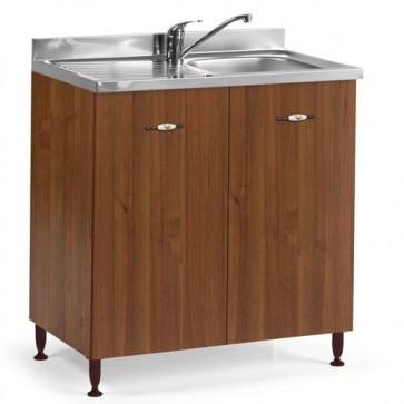 Sottolavello cucina componibile con ante 80 cm noce antico, completo di lavello e miscelatore. Mobili sottolavelli per cucine componibili, dimensioni 85x80x50 cm.