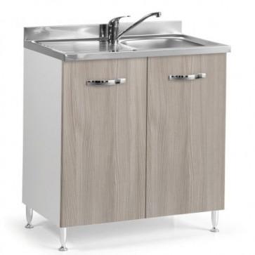 Sottolavello cucina componibile con ante 80 cm olmo, completo di lavello inox e miscelatore. Mobili sottolavelli per cucine componibili,