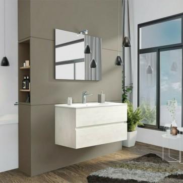 Mobile bagno moderno sospeso Splash in rovere bianco. Mobili Fores sospesi in legno, completo di specchio, illuminazione LED e lavabo