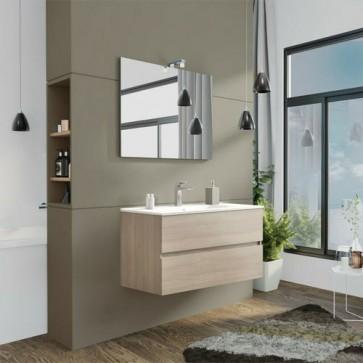 Mobile bagno moderno sospeso Splash. Mobili Fores sospesi in legno, colore rovere fumo completo di specchio, illuminazione LED e lavabo.