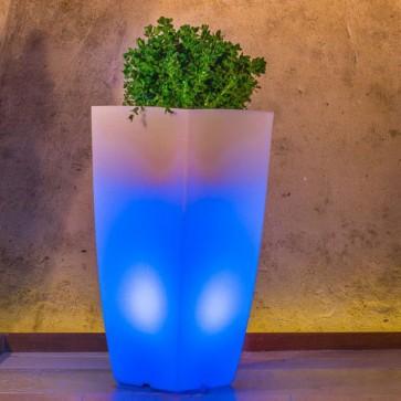 Vaso luminoso da giardino per esterno, vasi illuminati per piante in resina bianca per interno.