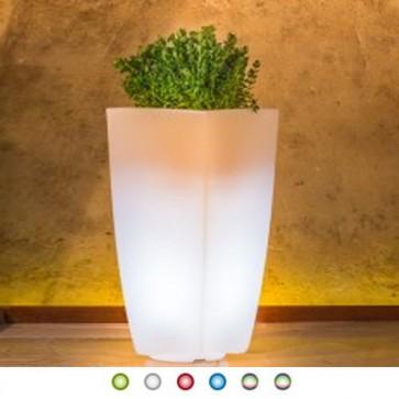 Vaso luminoso solare da giardino con batteria ricaricabile per esterno. Vasi luminosi solari da interno illuminati di luce multicolore RGB con telecomando, ideale per le piante del terrazzo.