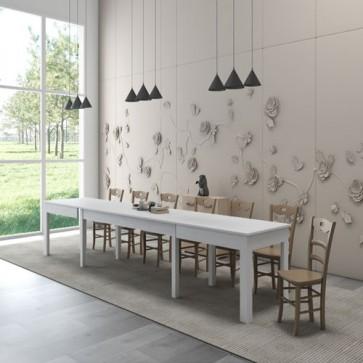Tavolo da pranzo allungabile bianco frassinato. Tavoli cucina allungabili fino a 320 cm grazie alle sue 4 allunghe centrali
