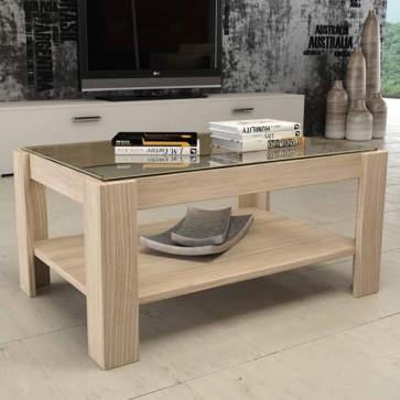 Tavolino salotto olmo in legno e piano in vetro, tavolini soggiorno design moderni misura 90x60x41 cm.