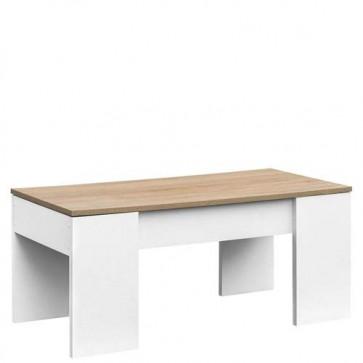 Tavolino salotto in legno bianco con piano in rovere elevabile e spazio contenitore, tavolini soggiorno