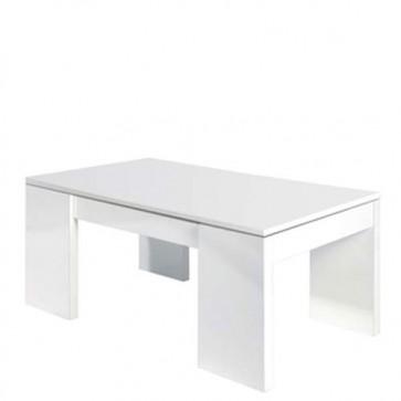 Tavolino salotto in legno bianco lucido con piano elevabile e spazio contenitore, tavolini soggiorno