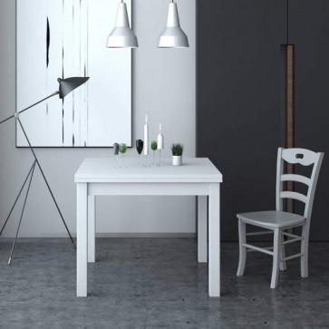 Tavolo da pranzo apribile a libro, colore bianco. Tavoli da cucina allungabili con gambe in faggio, arredo interno