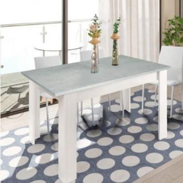 Tavolo da pranzo cemento allungabile di 50 cm, tavoli da cucina allungabili con gambe di colore bianco