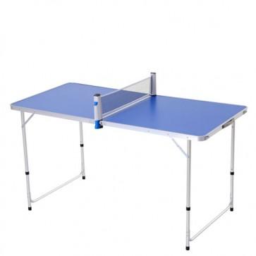 Tavolo da Ping Pong ripiegabile da interno. Tavoli ping pong campeggio pieghevole richiudibile, da esterno con racchette da tennis e una rete.
