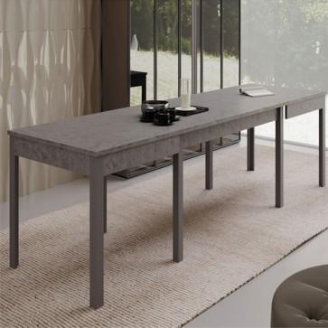 Tavolo da pranzo allungabile cemento. Tavoli cucina allungabili fino a 320 cm grazie alle sue 4 allunghe centrali, dimensioni 160x90 cm