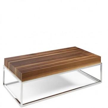 Tavolino salotto noce Angel Cerdà in MDF, tavolini per salone con base in acciaio cromato.