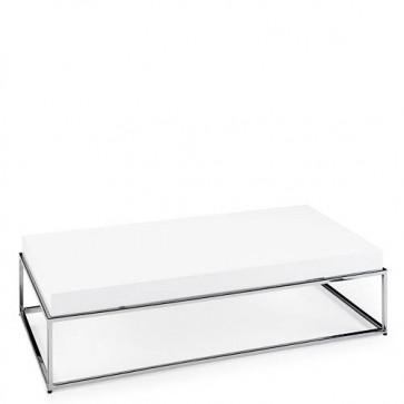 Tavolino salotto moderno Angel Cerdà laccato in MDF e base in acciaio cromato.