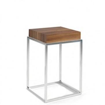 Tavolino salotto noce Angel Cerdà in MDF, tavolini con base in acciaio cromato.