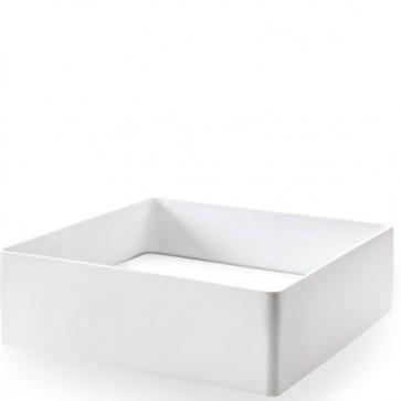 Lavabo bagno da appoggio cipì in resina moderno, lavandino quadrato design sospeso colore bianco