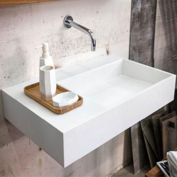 Lavabo bagno moderno sospeso in Istone, dotato di vasca contenitore con coperchio. Lavandino design Cipì di colore bianco