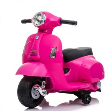 Vespa elettrica GTS Piaggio rosa per bambine con batteria 6 volt, vespetta bimba elettrico per bambina con rotelle e fanale anteriore a led.