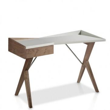 Scrivania per Pc bianca Angel Cerdà, scrivanie design moderne in noce per uso professionale.